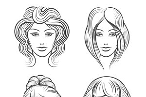 Womens faces with hairstyles