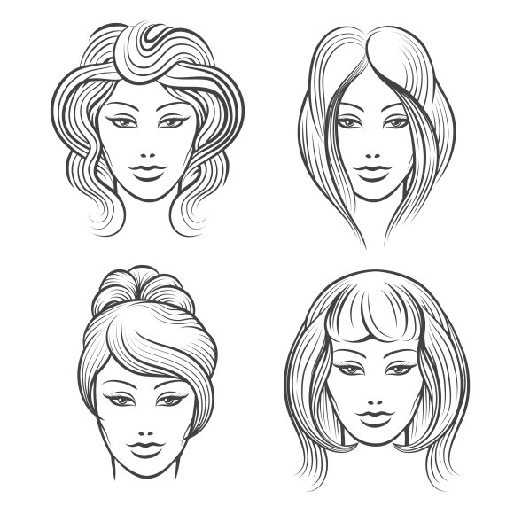 Womens faces with hairstyles in Graphics