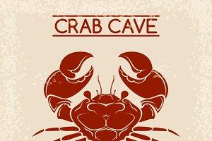 Crab seafood emblem template