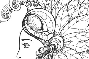 Zentangle woman face