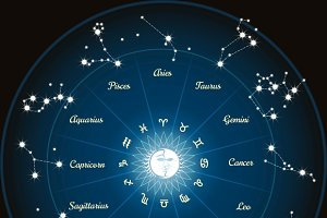Circle with zodiac constellations