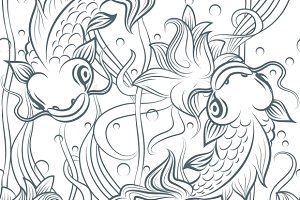 Koi fish seamless pattern