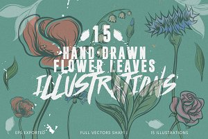 15 Hand-Drawn Flower and Leaves