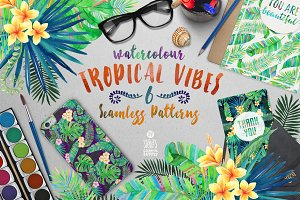 Tropical Vibes, Seamless Patterns