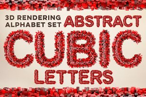3D Cubic Red Letters Pack