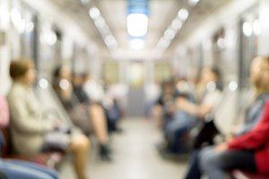 De focused people in the subway
