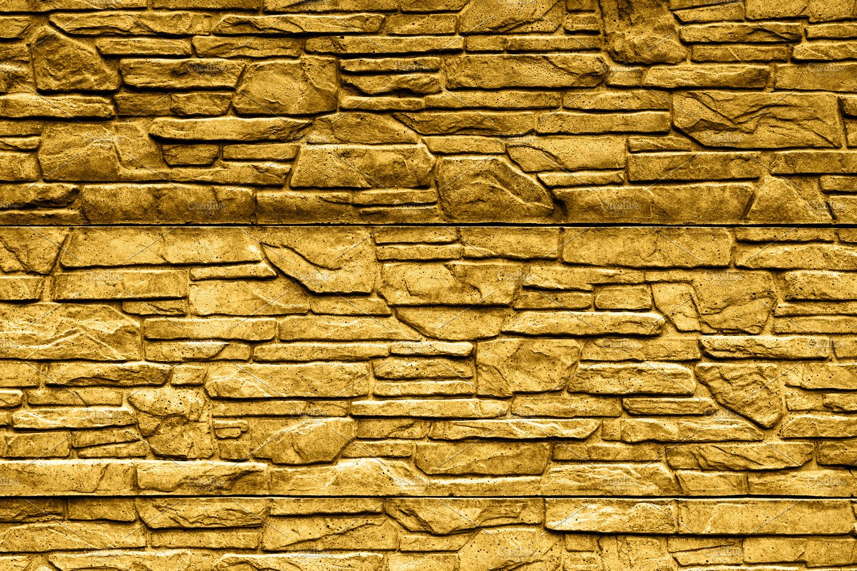 Gold stone brick wall texture ~ Abstract Photos ~ Creative Market