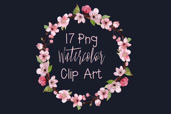 17 Watercolor Cherry Blossom ClipAr…
