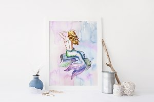 Watercolor Mermaid Wall Art Print