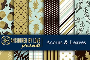 Acorns and Leaves Digital Paper