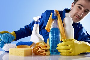 Cleaning service products and worker