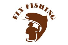 Trout Fly Fishing Isolated Retro