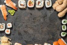 Sushi rolls, nigiri, maki sushi