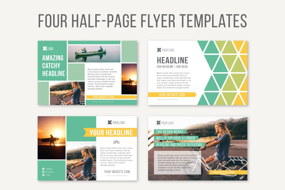 Four half page flyer templates templates creative market for One page brochure template free