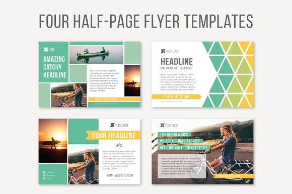 Four half page flyer templates templates on creative market for Four page brochure template