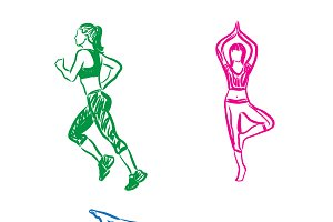 fitness, yoga, woman, vector sketch