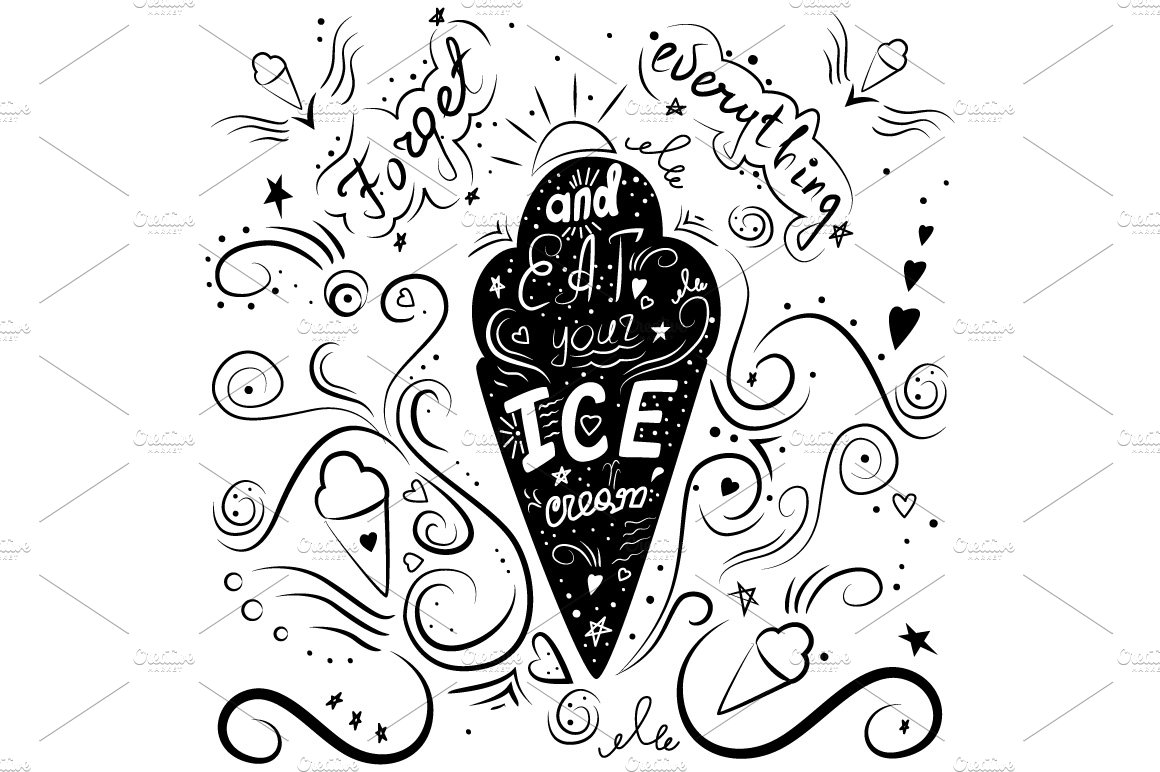 hand drawn lettering ice cream Illustrations Creative Market