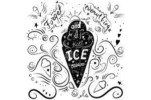 hand drawn lettering - ice-cream