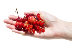 girl holding a currant and cherry