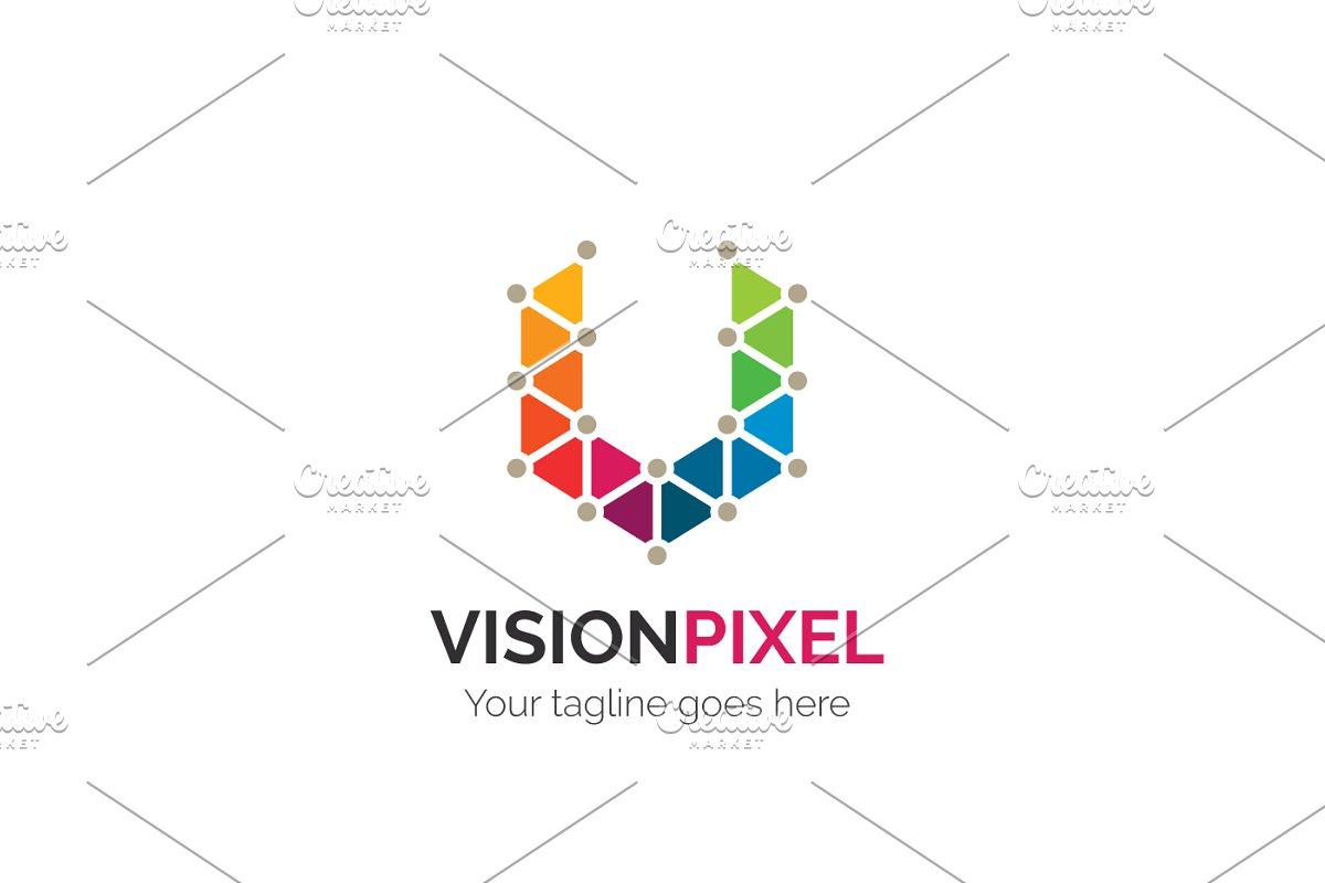 vision pixel letter v logo