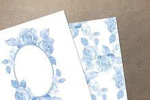 Watercolor set. Blue roses 2