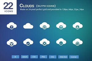 22 Clouds Glyph Icons