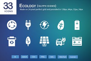 33 Ecology Glyph Icons