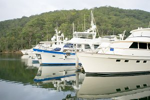 Luxury Boats and Yachts at Dock