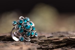Ring with small blue glass stones