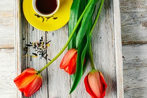Morning tea and tulips