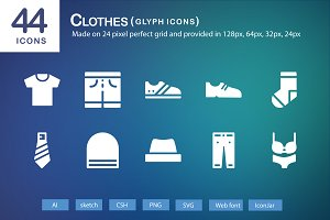 44 Clothes Glyph Icons