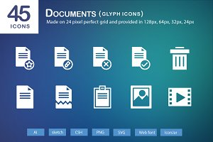 45 Documents Glyph Icons