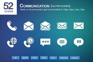 52 Communication Glyph Icons