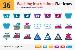 36 Washing Instructions Flat Icons