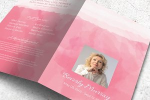 Pink Watercolor Funeral Program