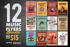 12 Indie Music Flyers Bundle
