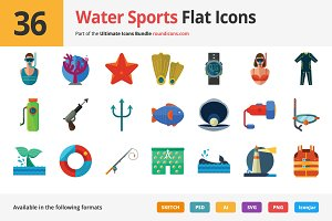 36 Water Sports Flat Icons