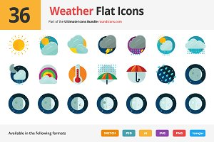36 Weather Flat Icons