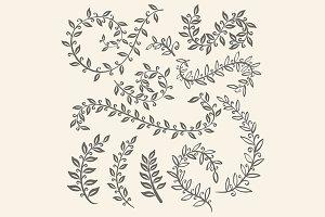 Vector autumn doodle leaf acorn set