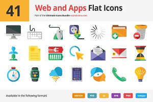 41 Web and Apps Flat Icons
