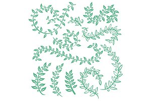 Hand painted green branches, leaves