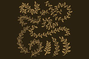 Plant Gold vector leaves set outline