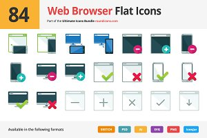 84 Web Browser Flat Icons