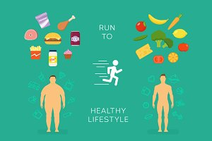 Healthy Lifestyle Flat Vector