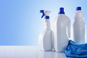 Cleaning products on table overview