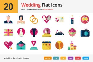 20 Wedding Flat Icons