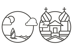 Outline Landscape Icons