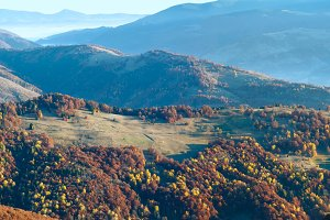 Morning autumn mountains landscape.