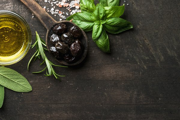 Greek black olives & fresh herbs