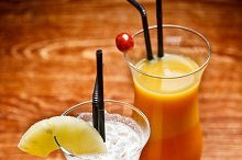 Two fruity cocktail drinks